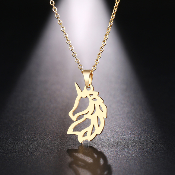 Jewelry - Stainless Steel Gold Quarter Horse Necklace